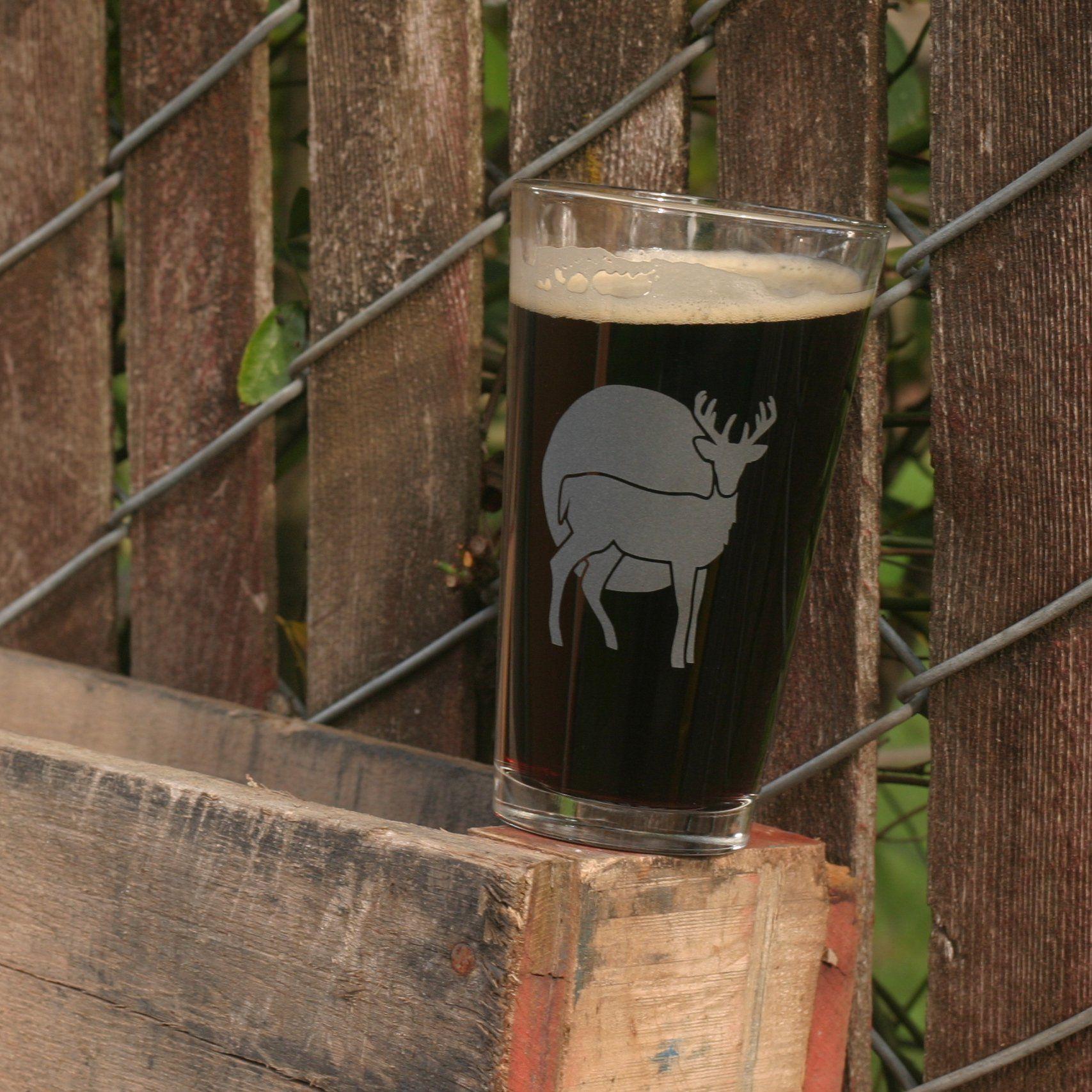 Deer pint glass retired glass pint glass sandblasted