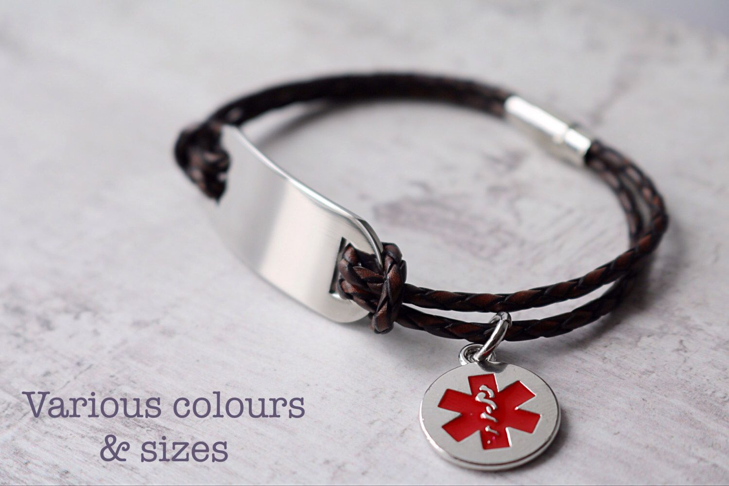 Medical alert bracelet personalized - Medical alert charm- leather bracelet - free engraving by BroadsofLondon on Etsy https://www.etsy.com/listing/233259920/medical-alert-bracelet-personalized