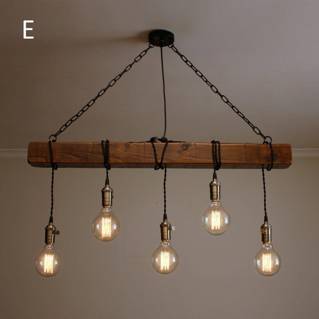 Lustre En Bois Rustique Fait Main Suspension Industrielle Avec Poutre En Bois Io Net Deco In 2020 Lampen Holz Rustikal Rustikale Lampen Lampe Holz Design
