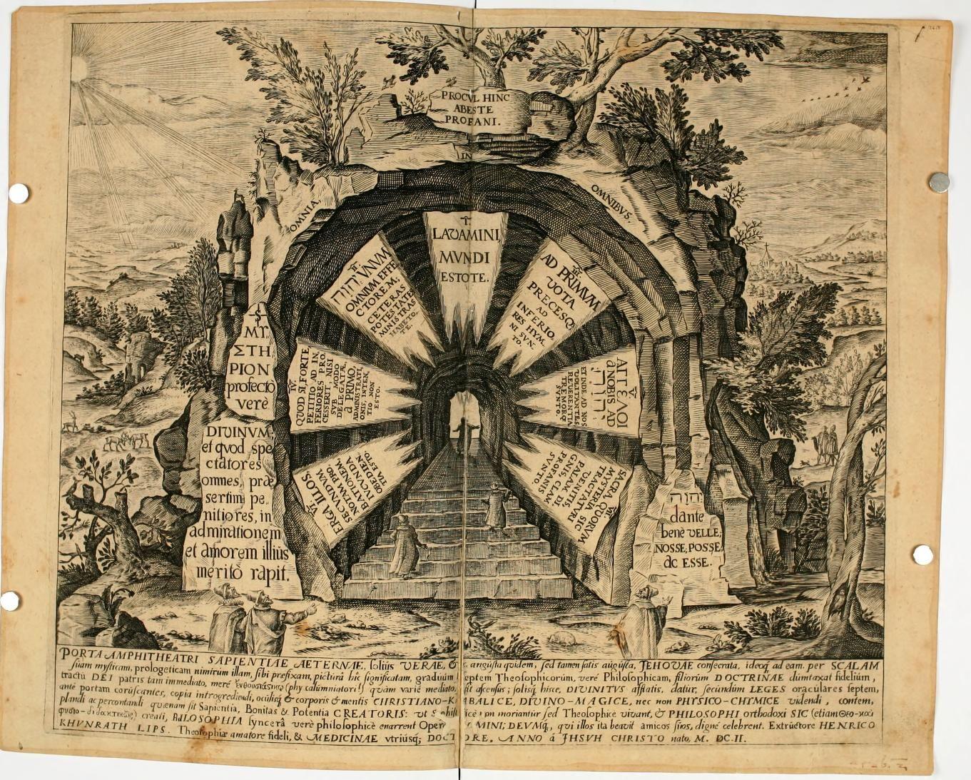 Amphitheatrvm sapientiae aeternae : solius verae, christiano-kabalisticvm, divino-magicvm, nec non physico-chymicvm, tertrivnvm, catholicon by Khunrath, Heinrich, 1560-1605; Vries, H. F; Diricks van Campen, Jan, 17th cent; Doort, Peter van der, fl. 1590-1602  Published 1609    https://ia700507.us.archive.org/BookReader/BookReaderImages.php?zip=/16/items/amphitheatrvmsap00khun/amphitheatrvmsap00khun_jp2.zip&file=amphitheatrvmsap00khun_jp2/amphitheatrvmsap00khun_0022.jp2&scale=2&rotate=0