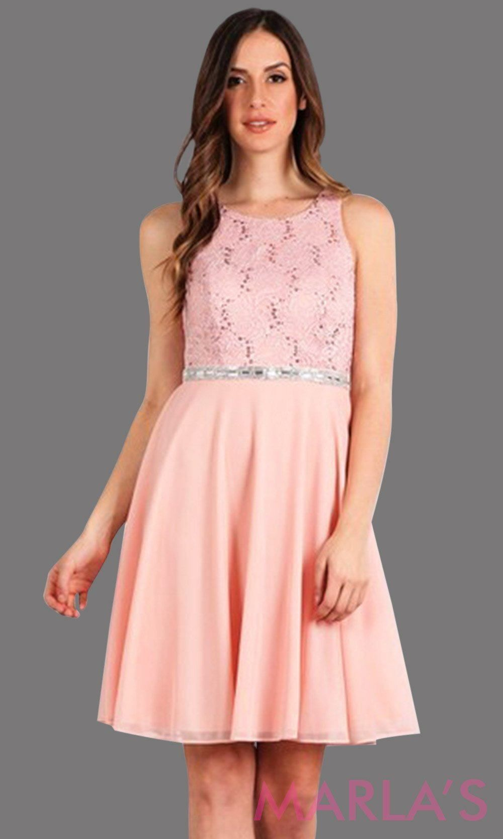 High neck flowy short dress with lace bodice and flowy pink chiffon