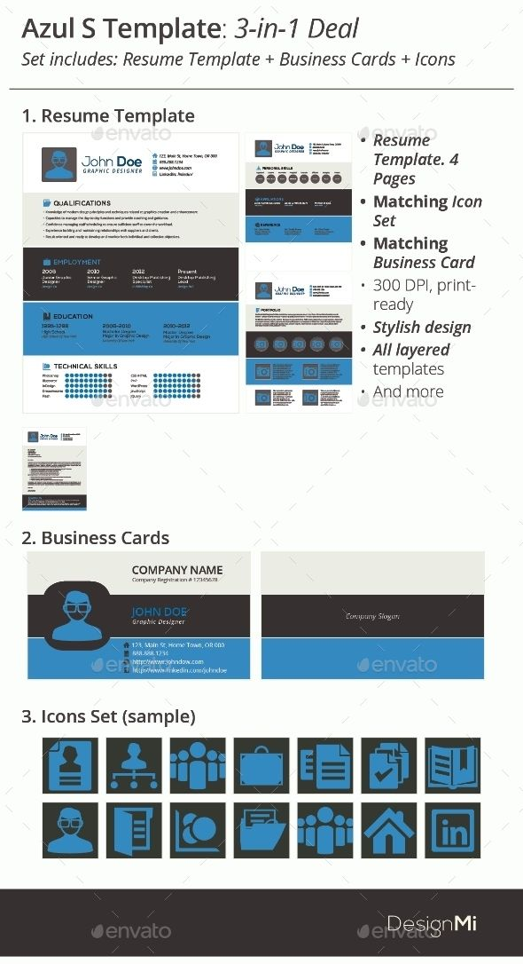3-in-1 Deal Resume Template + Icons + Business Card, Azul S