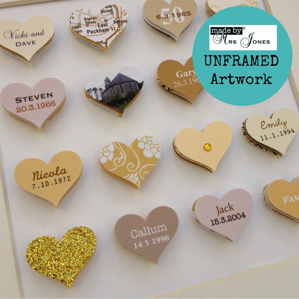 50th Wedding Anniversary Gift 16 small hearts Golden