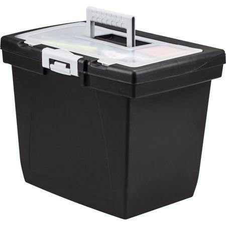 Storex Value Portable File Box Organizer Storage Compartment