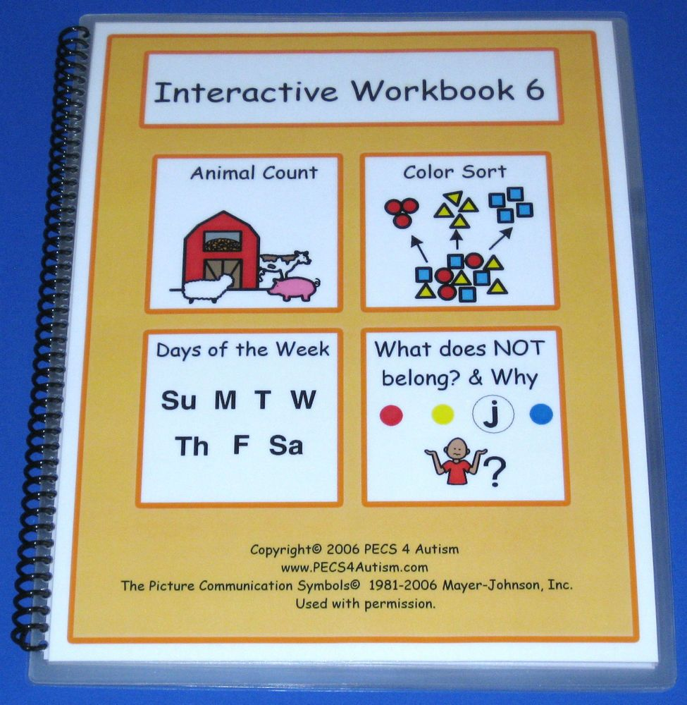 Workbooks therapy workbooks : INTERACTIVE WORKBOOK 6 PECS Autism ABA Speech Therapy ...