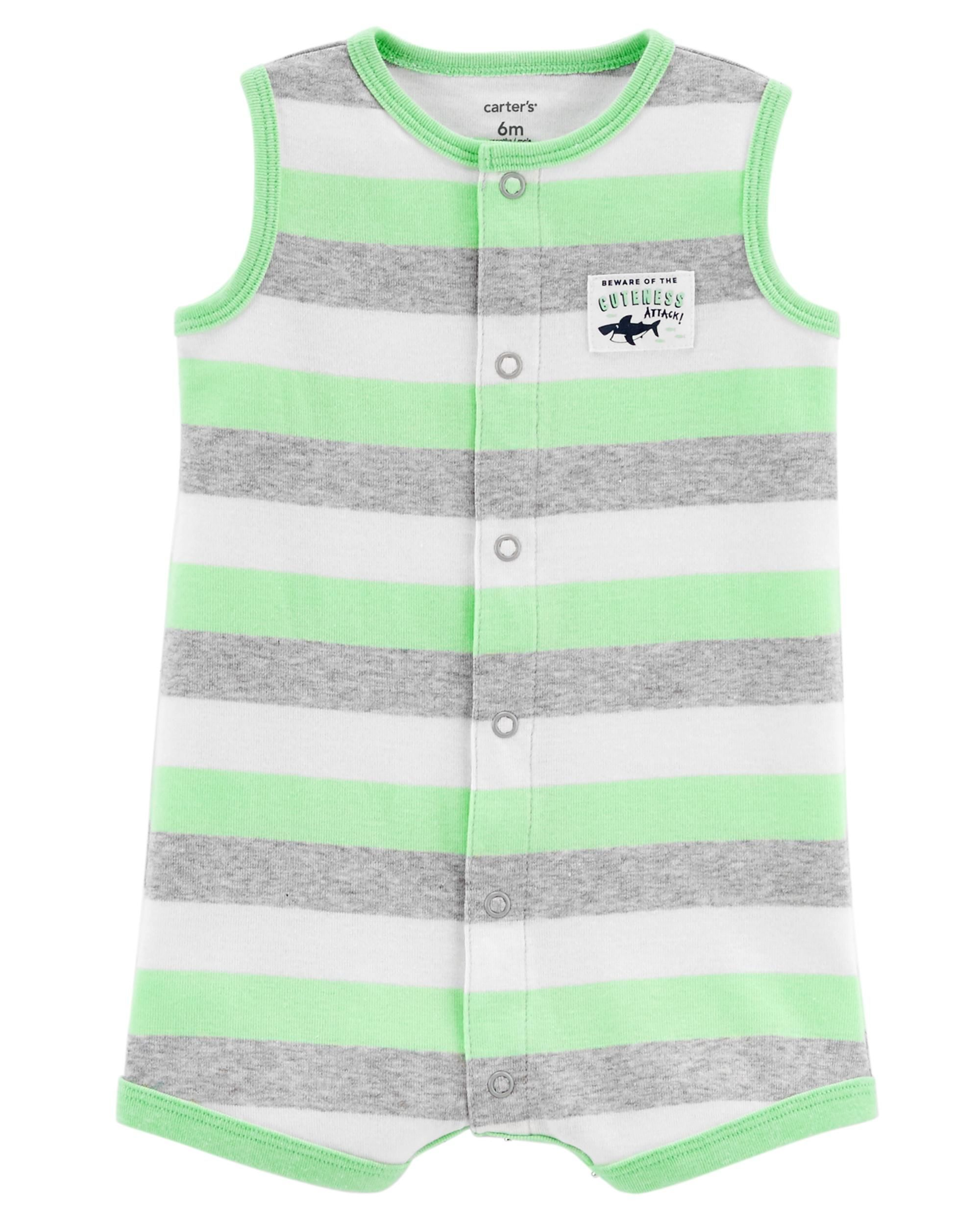 Carters Baby Boys 2 Pack Cotton Romper Creeper Set