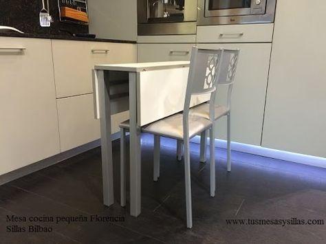 Mesa de cocina pequeña, estracha y extensible Florencia con encimera ...