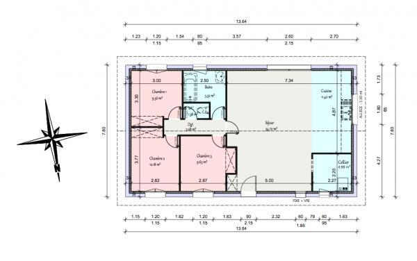 Plan Maison Plain Pied Cuisine Fermee Plan Maison 90m2 Plan Maison Plan Maison Plain Pied