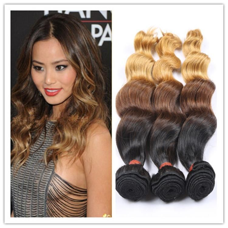 Malaysian Loose Wave Ombre Hair Extensions 1b 4 27 Three Tone Human