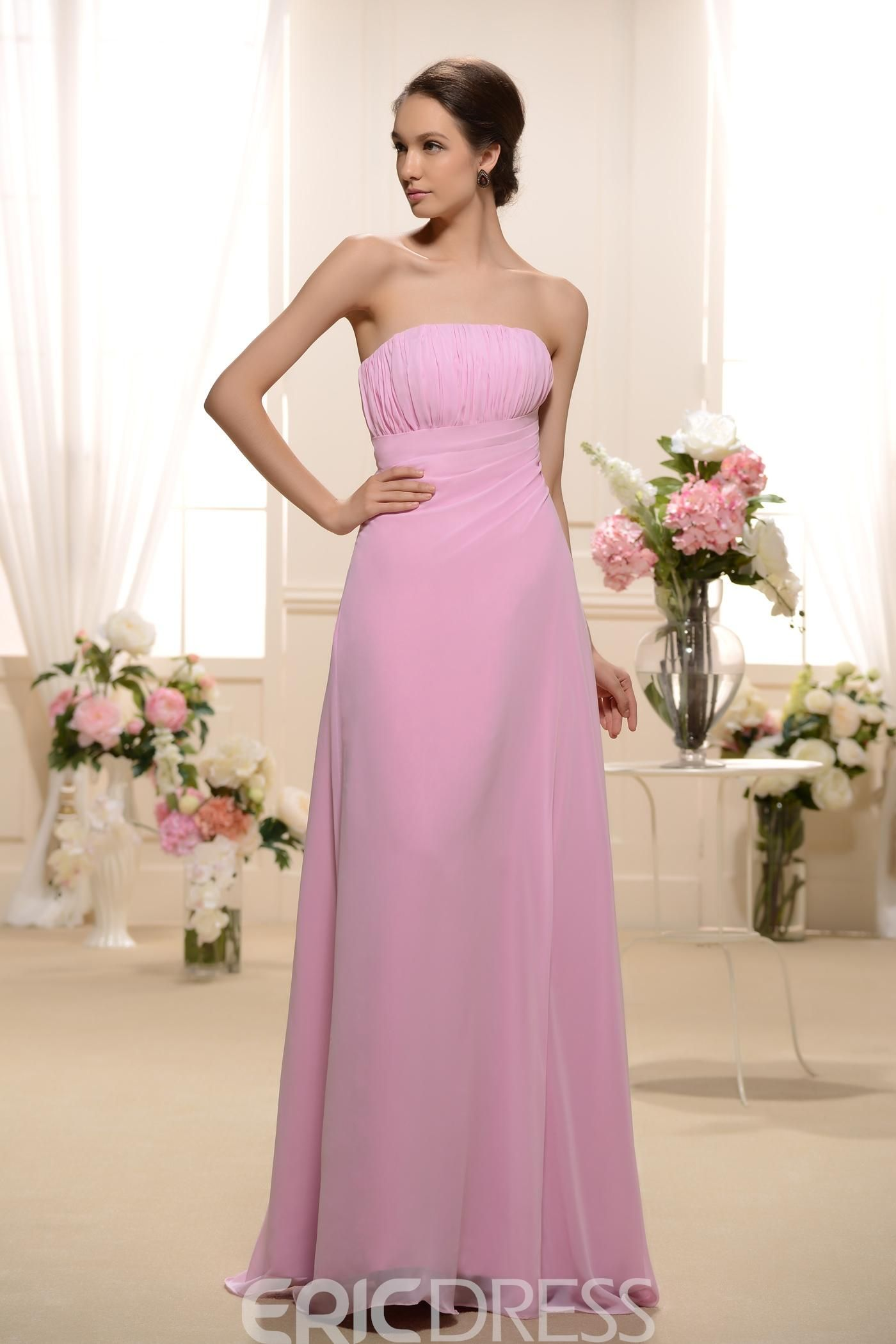 Design Ruched A-Line Strapless Floor-Length Bridesmaid Dress | Pinterest