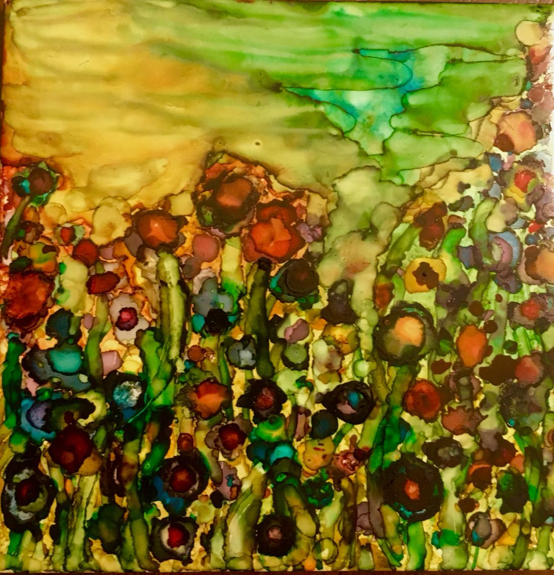 Recycled Ceramic Tile And Alcohol Ink Wildflowers On A Hillside