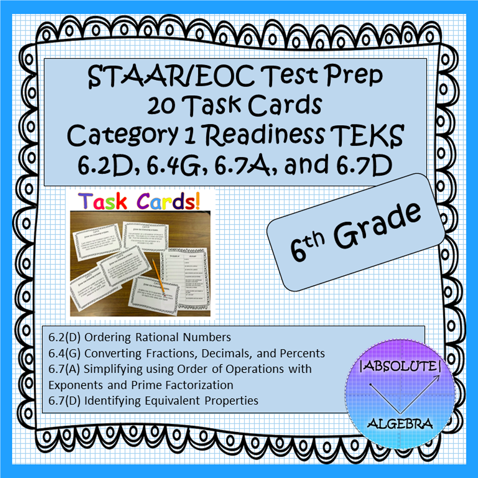 6th Grade Staar Eoc Task Cards For Category 1 6 2d 6 4g