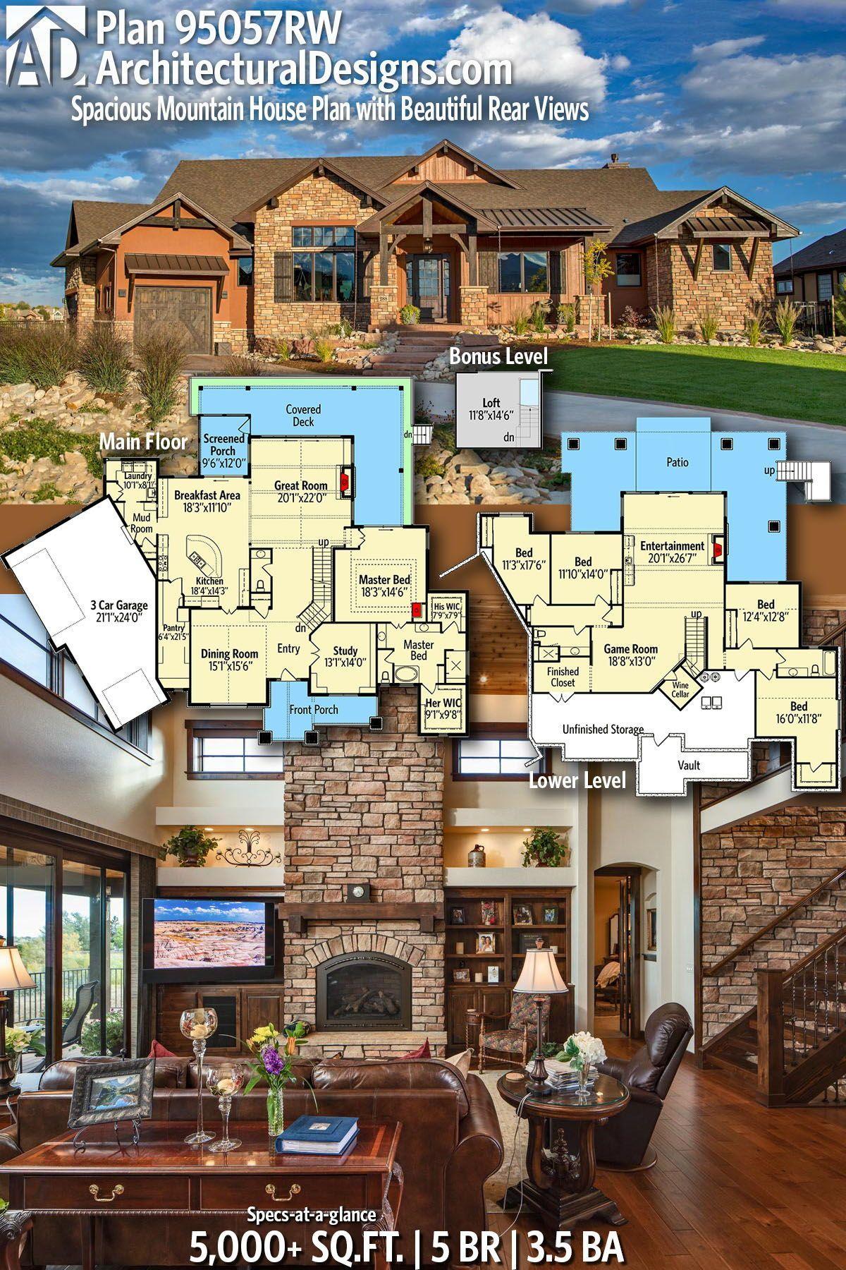 Plan 95057rw Grosszugiger Mountain House Plan Mit Schonen Ruckansichten 95057rw Grosszugig Mountain House Plans Dream House Plans House Plans
