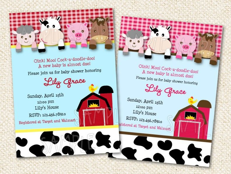 Barnyard Baby Shower Invitations 1000 Via Etsy