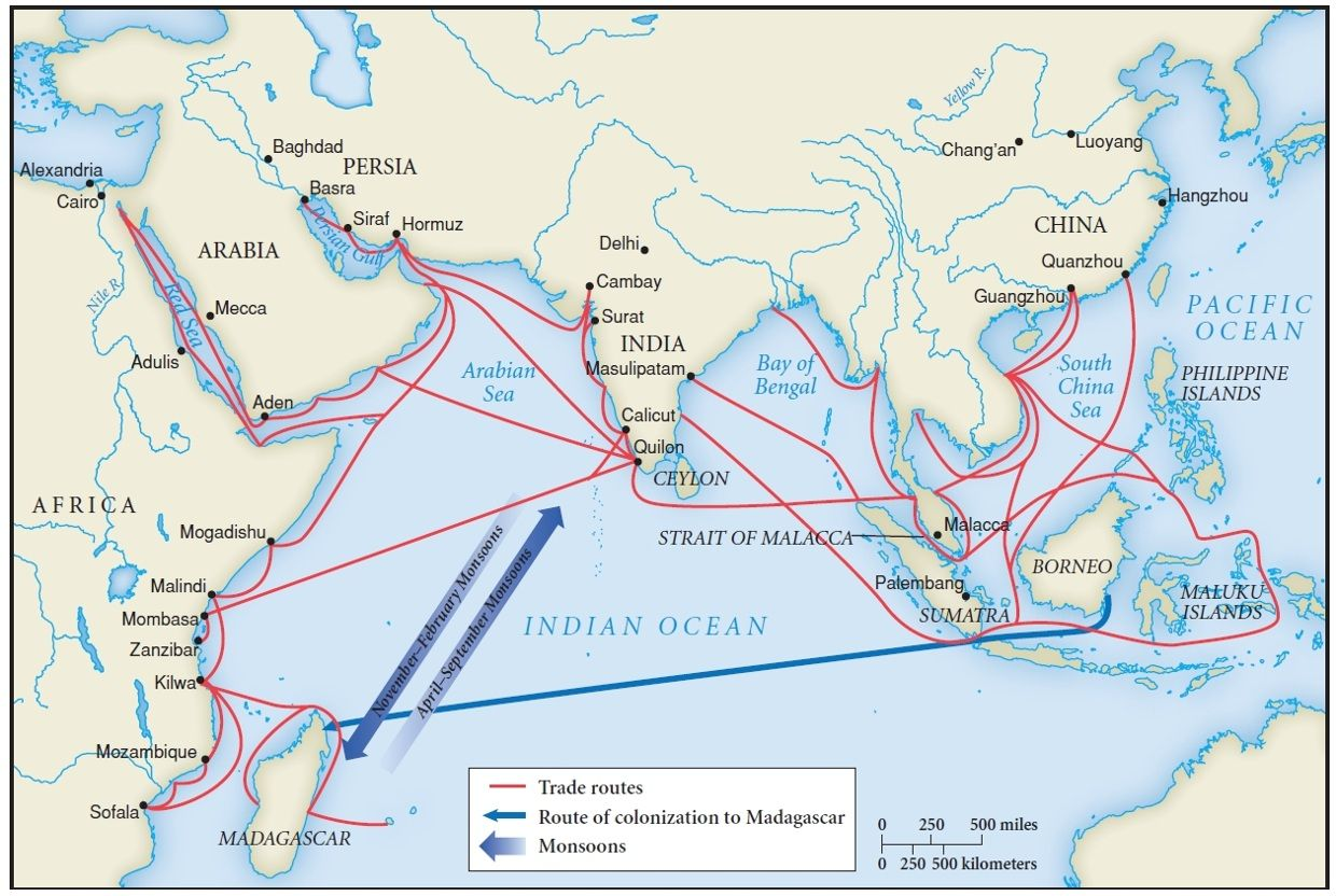 Map Of Indian Ocean Trade Routes Indian Ocean Route Map Strait