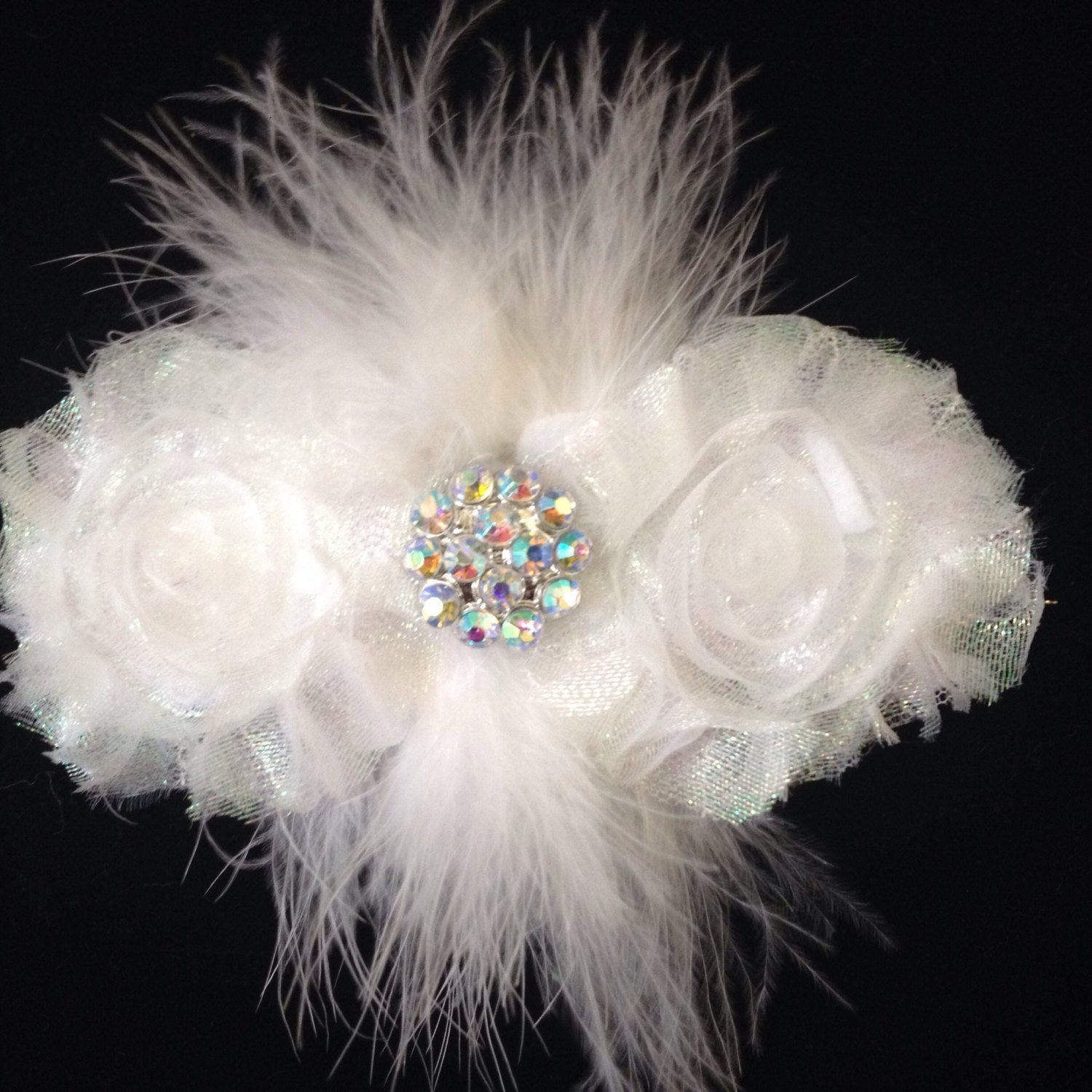 """4.5/"""" Handmade White Glitter Tulle Hair Bow Clip with Silver Glitter Crown"""