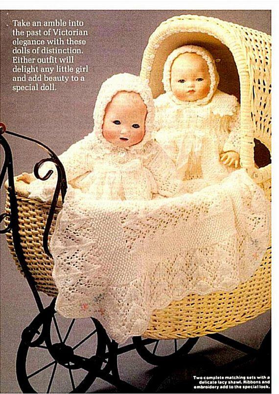 Baby doll Knitting PATTERN - 2 Full layettes Jacket, Leggings, vest, bonnet, Bootees, Shawl, Dress
