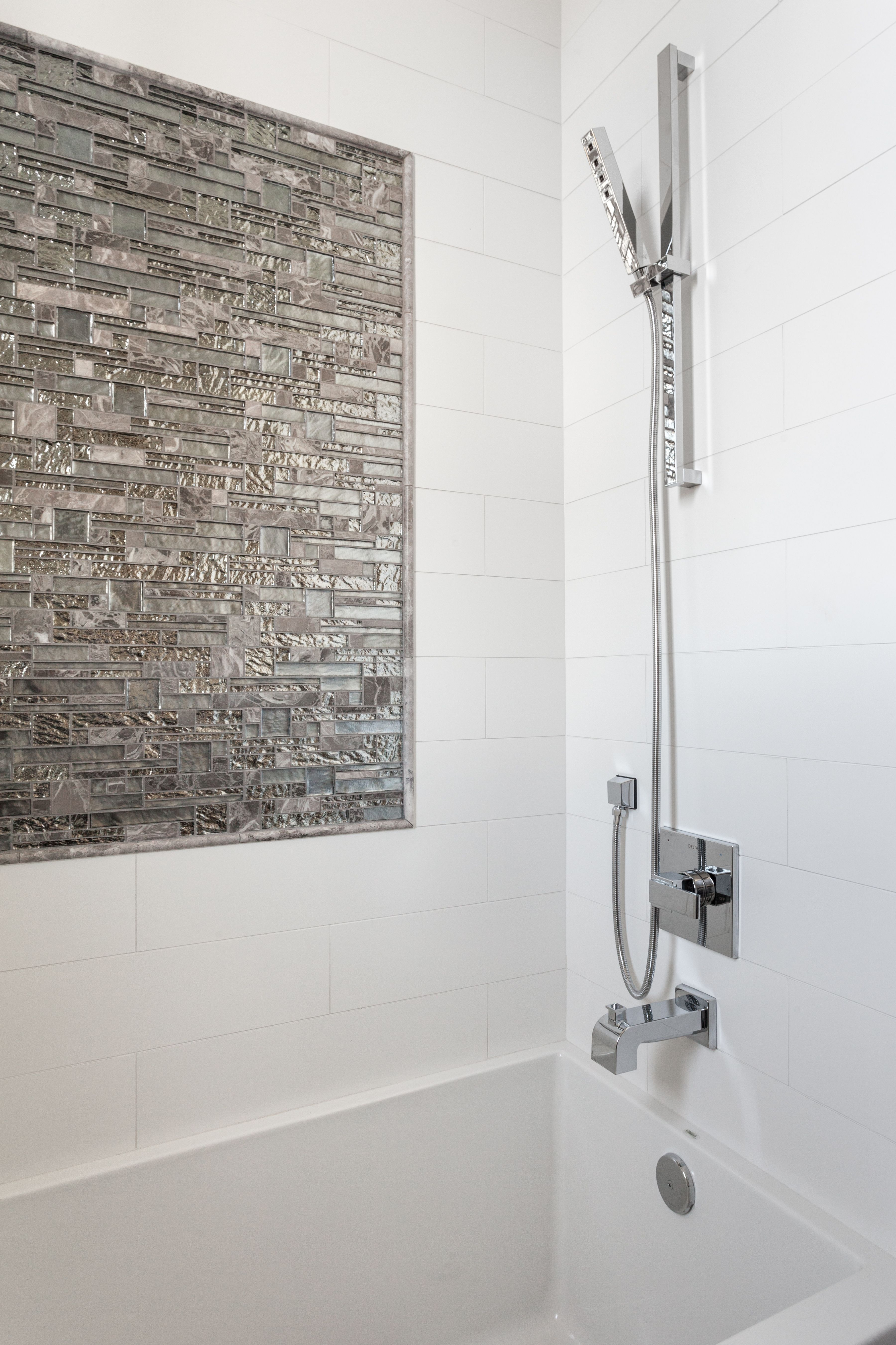 Our tile accent in master bath- Vista Backdrop. Metallic. | Home ...