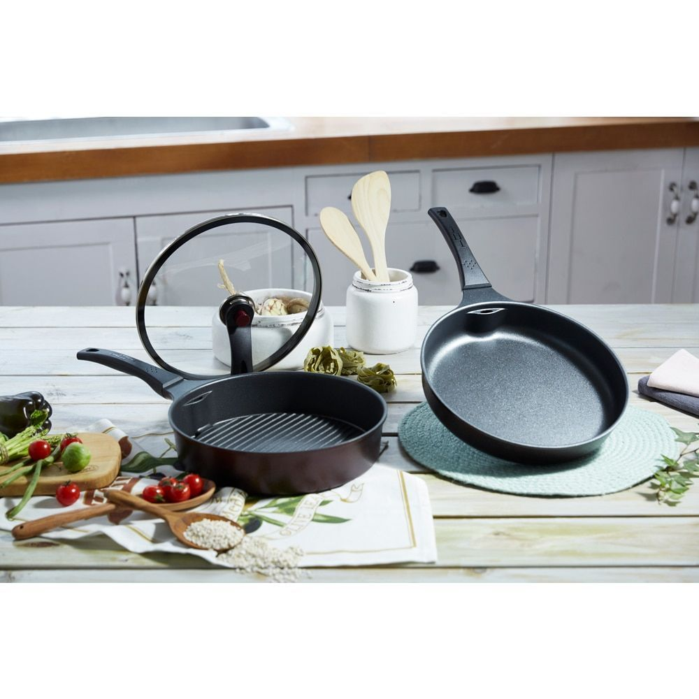 Huhu pc fry pan and grill pan set black aluminum grill pan