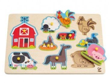 hape educo puzzle bois b b enfant animaux de la ferme. Black Bedroom Furniture Sets. Home Design Ideas