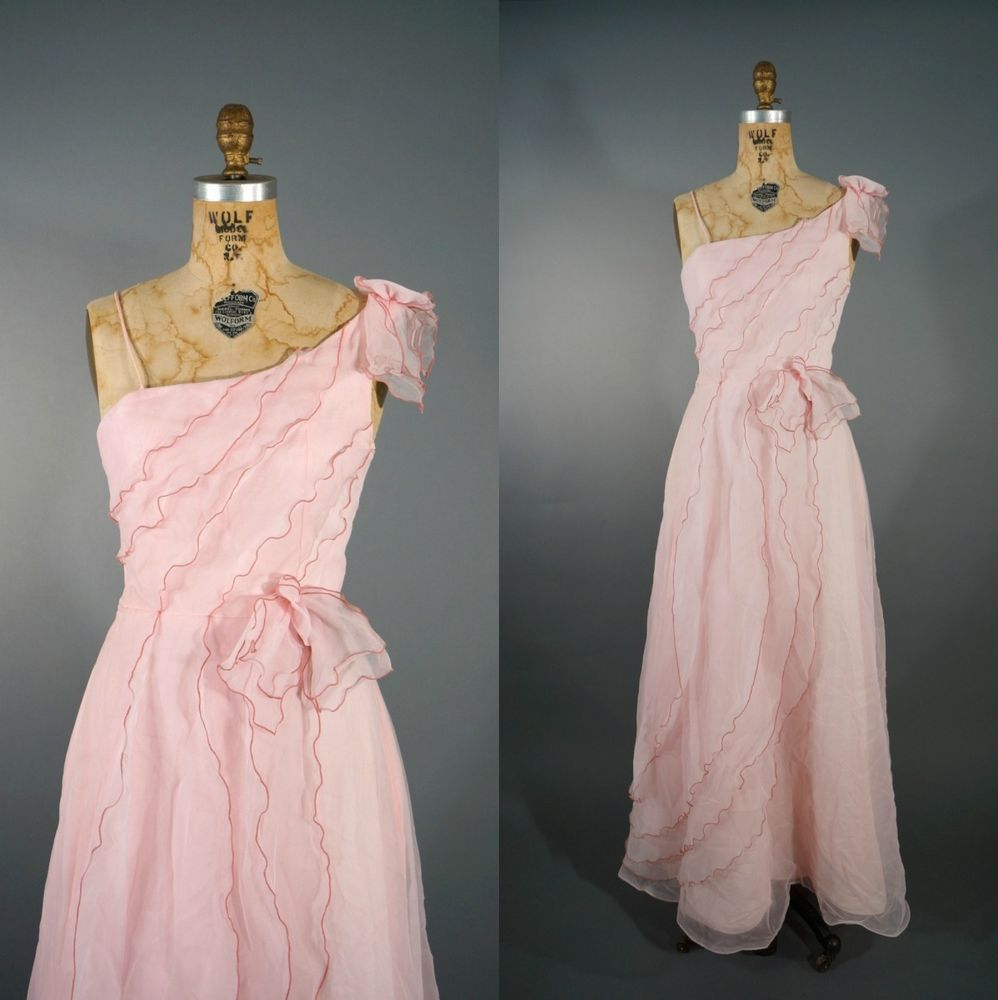 Vintage s chiffon pink wedding party dress bohemian sm