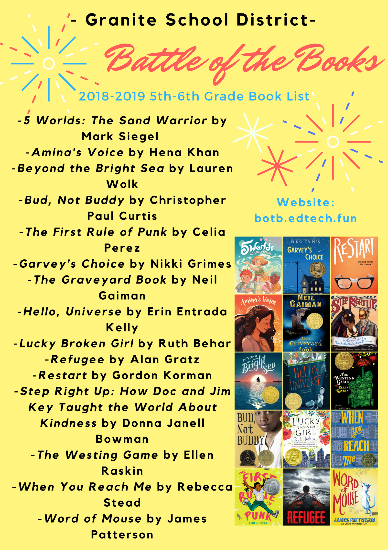 2018 2019 Granite Battle Of The Books 5th 6th Grade Book List Book