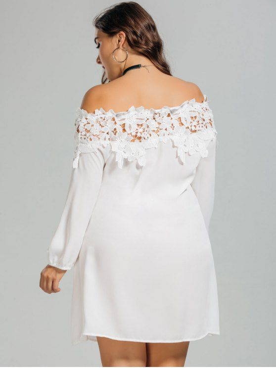 4ca35672a4 AD : Lace Trim Off Shoulder Plus Size Dress - WHITE Style: Brief Material:  Cotton,Polyester Silhouette: A-Line Dresses Length: Mini Collar-line: Off  The ...