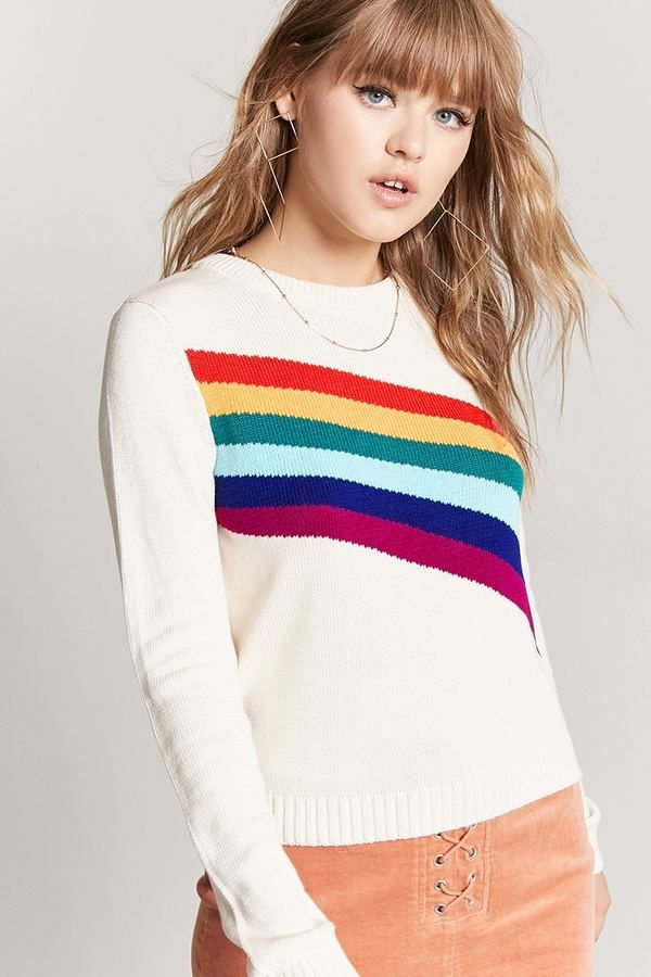 FOREVER 21 Rainbow Graphic Sweater. sweater style ad