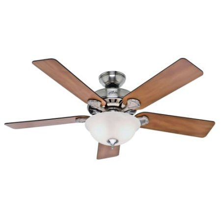Hunter Fan Company 53249 Pro's Best 5 Minute Fan 52 inch Brushed Nickel Ceiling Fan with 5 Chestnut/Blackened Rosewood Blades and Glass Bowl Light Kit, Silver