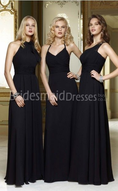 A Line Black Chiffon One Shoulder Floor Length With Draping