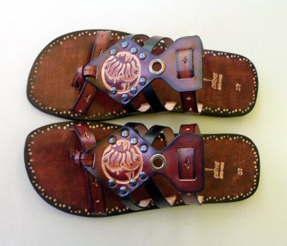 Handmade Leather Sandals  Imagination by Calpas on Etsy, $70.00 - cute