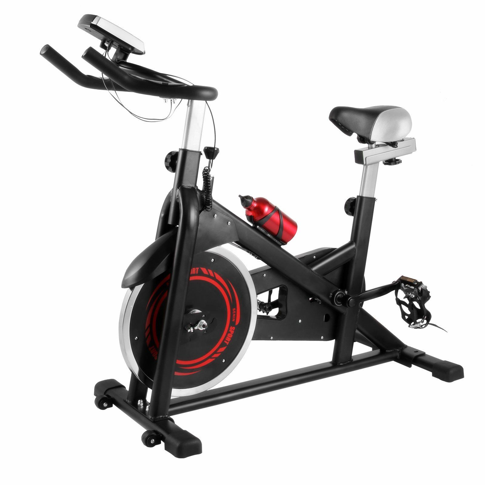 Popsport Indoor Exercise Bike Stationary Bike 330lbs Indoor Cycle Bike With Lcd Display And Water Bottle F Indoor Bike Workouts Biking Workout At Home Workouts