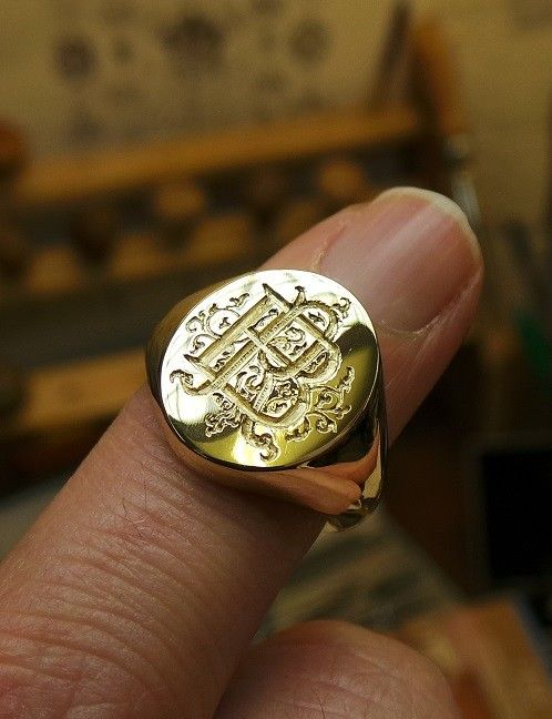 Initials on Gold Signet Ring Hand engraved