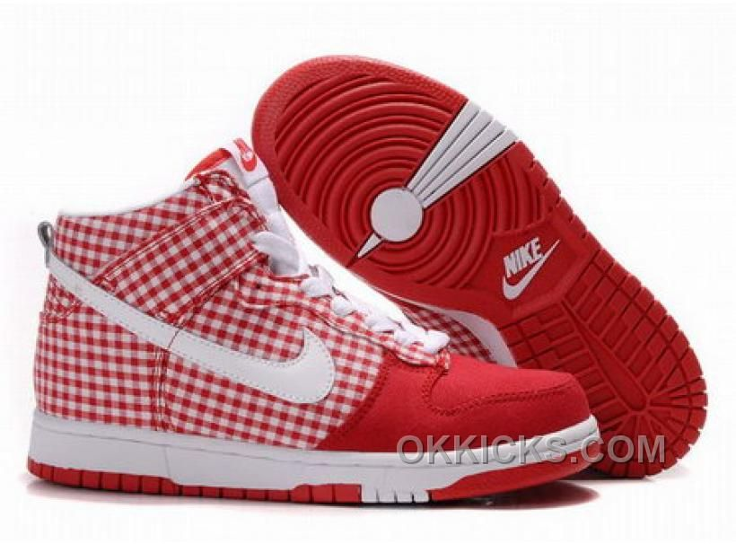 Nike Dunk Highs Red White Square Shoes