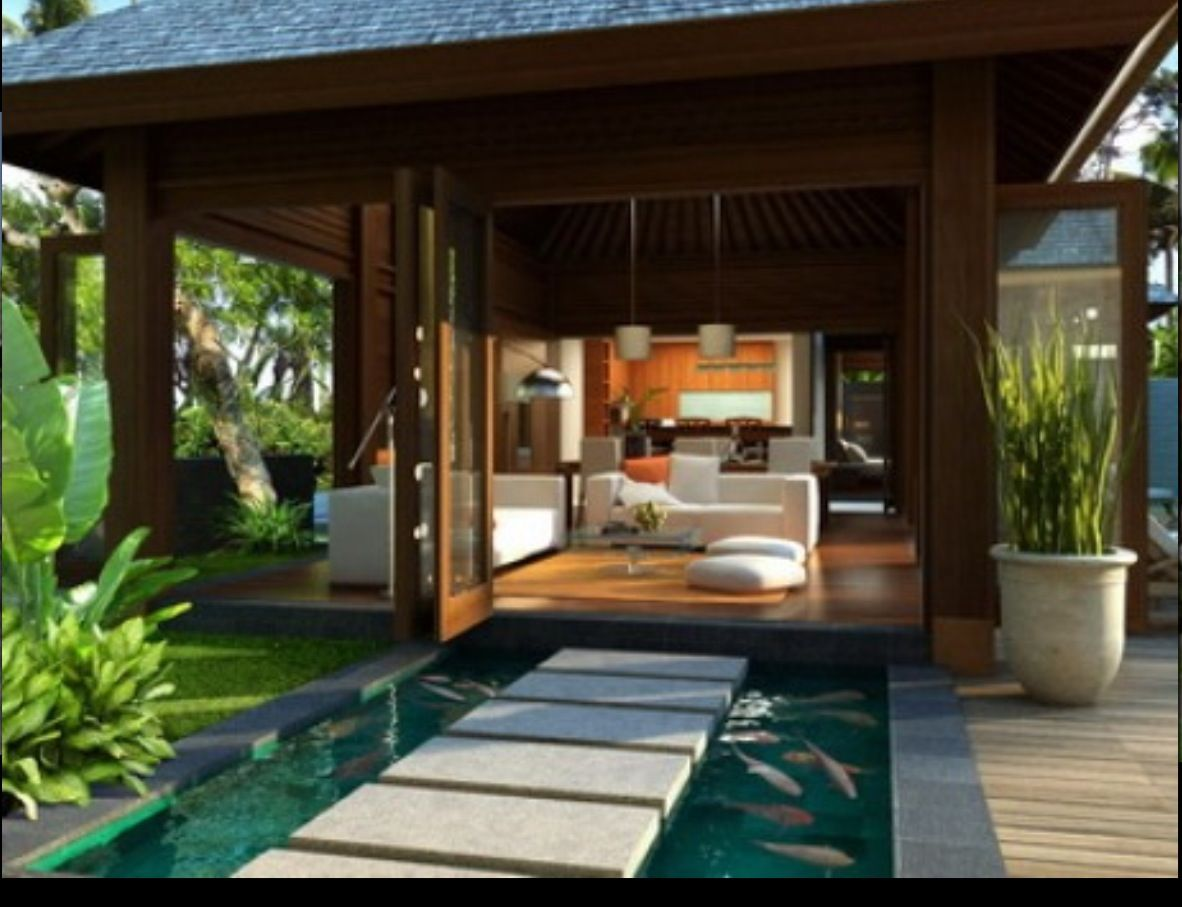 Important to have water surrounding every step towards your abode favorite places spaces for Bali style homes designs australia
