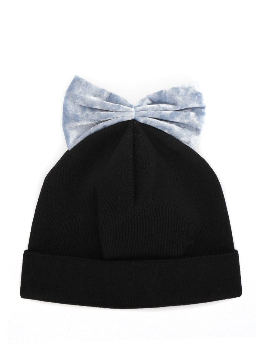 bow embroidered beanie hat - Black Federica Moretti fnsbcowTlL
