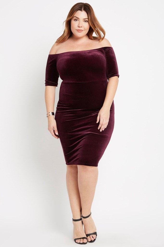 Velvet Off The Shoulder Midi Bodycon Dress Plus Size Wardrobes