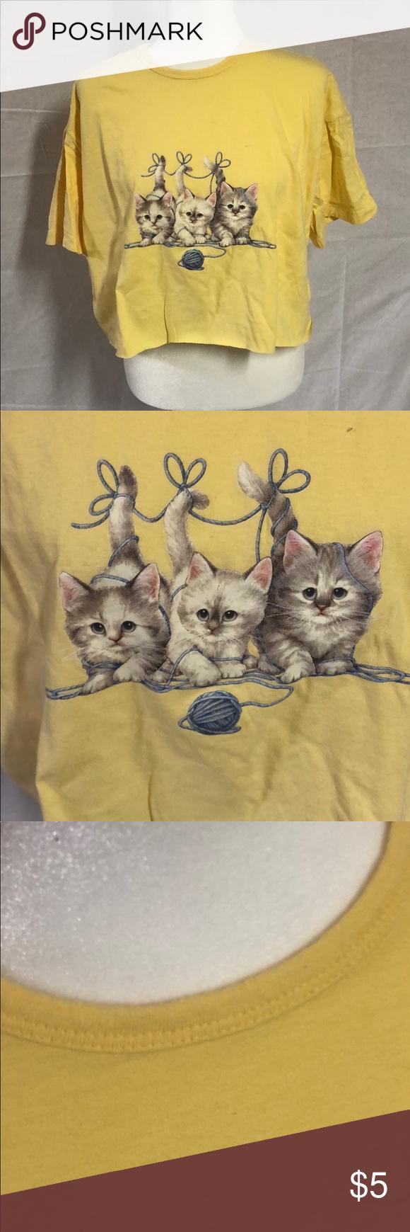Vintage Kitten Crop Top T Shirt Crop Top Vintage Crop Tops Clothes For Women