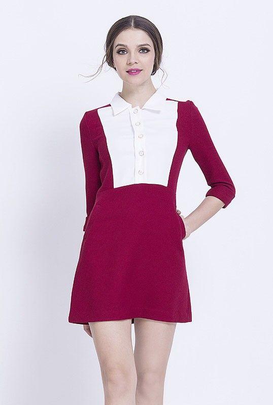Color block collar a line dress