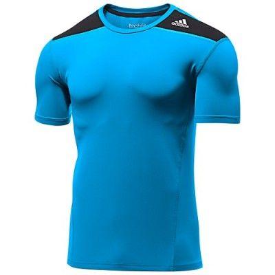 f1896525 Camiseta Adidas Men's Techfit Base Fitted Tee Solar Blue Black D88642  #Camiseta #Adidas