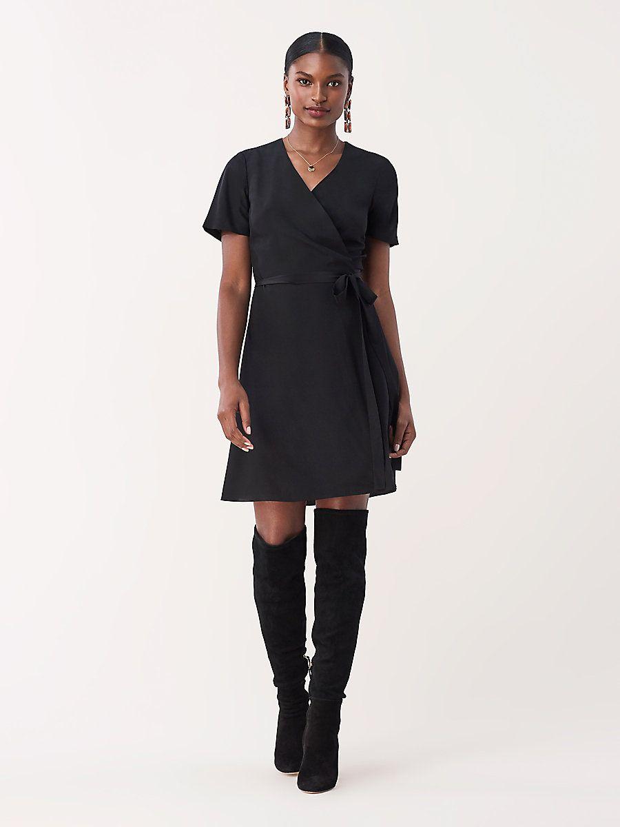Savilla silk crepe de chine mini wrap dress in black