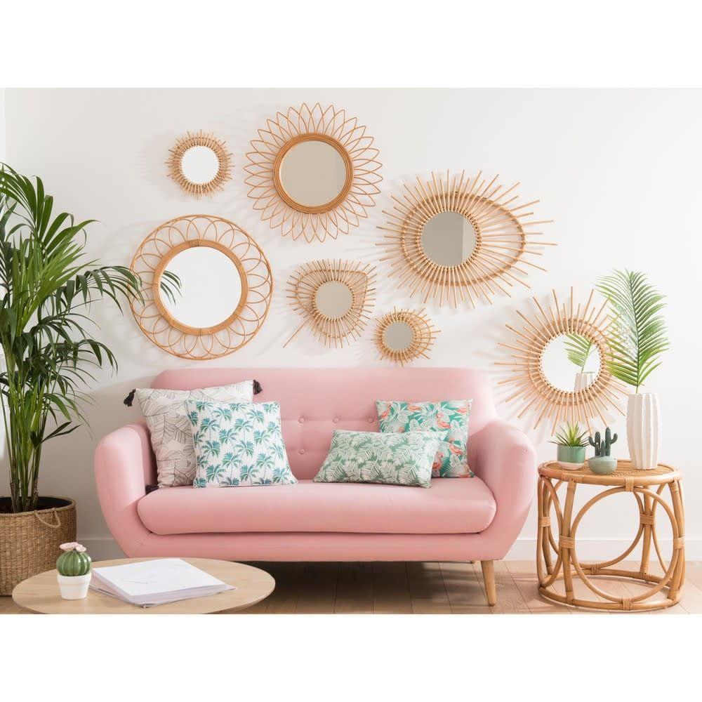 Skandinavischer Sofa 2 3 Sitzer Aus Stoff Rosa Rosa Wohnzimmer Zimmerdekoration Haus Deko