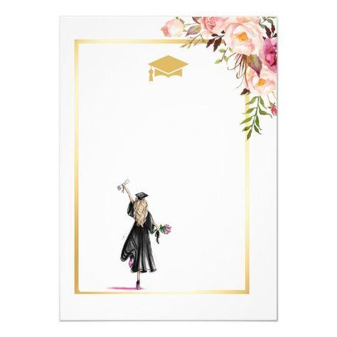 2021 Graduation Party Chic Floral Golden Frame Invitation Zazzle Com Graduation Wallpaper Congratulations Graduate Graduation Frame