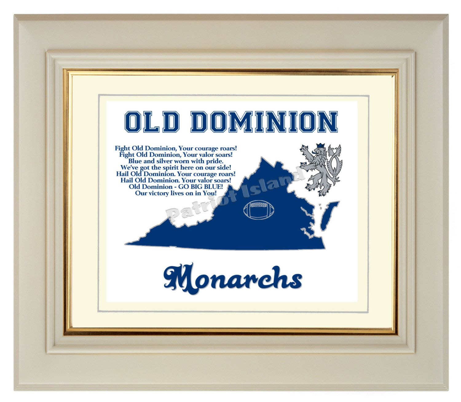 Old Dominion Monarchs Art Print Virginia State Map College Football Fight Song Gift Home Decor 8x10 14 00 Via Etsy Old Dominion Art Prints Blue And Silver