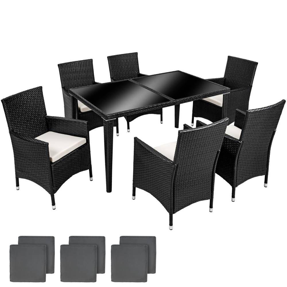 Aluminium Rattan Sitzgruppe 6+1 Günstig Online Kaufen | TecTake