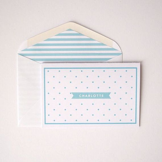 Personalized Folded Cards  Polka Dot   Choose by LetterLoveDesigns, $35.00