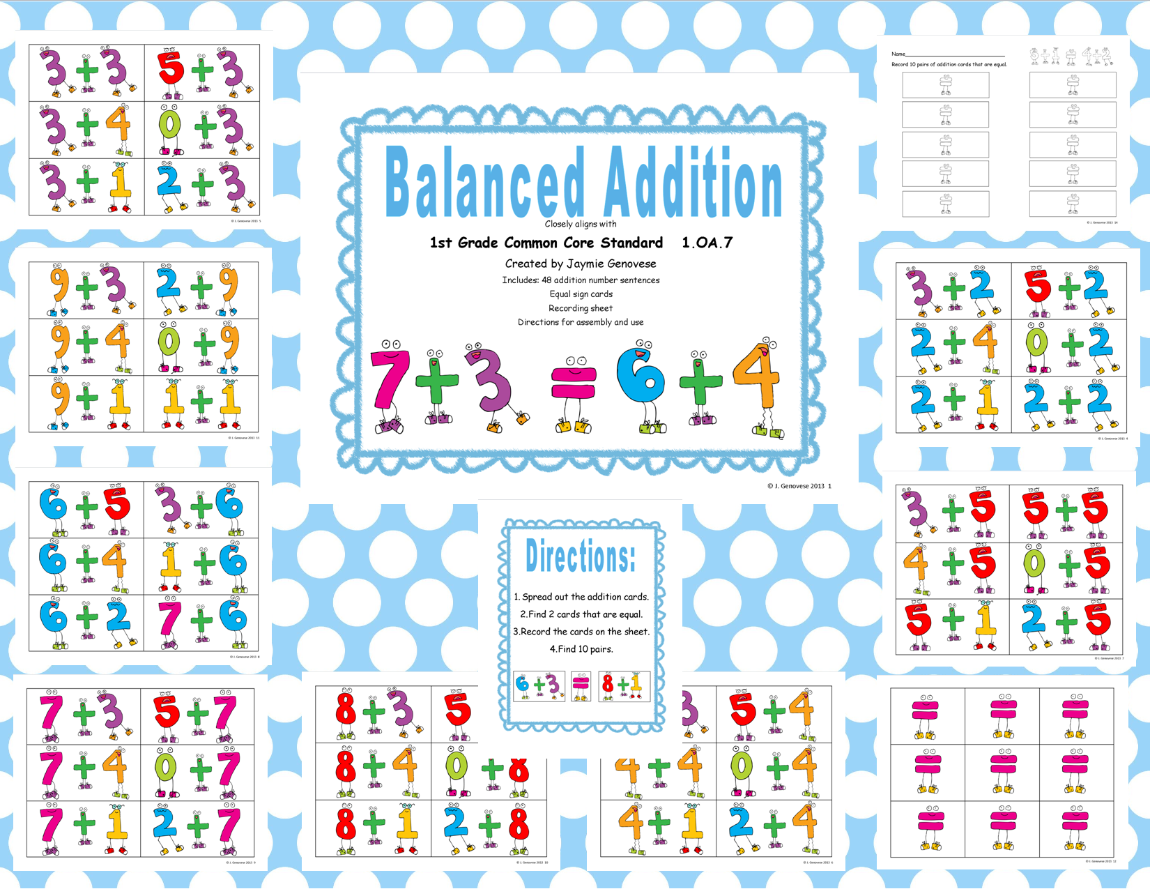 Balanced Addition First Grade Common Core Math 1 Oa 7
