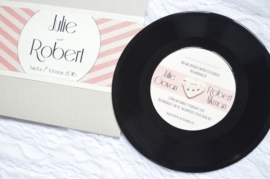 Vinyl record wedding invitations made by KB invitations. Unusual and ...