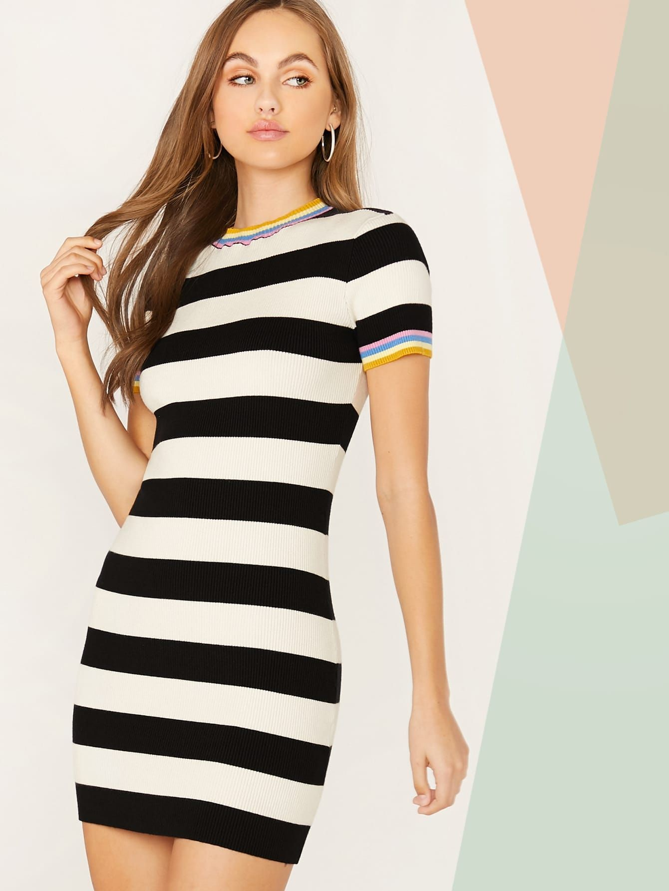 Ad Fitted Striped Sweater Dress Tags Elegant Black And White Striped Rainbow Stripe Round Neck Mi Striped Sweater Dress Sweater Dress Ribbed Knit Dress [ 1785 x 1340 Pixel ]