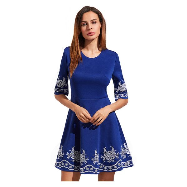 Light Royal Blue Embroidered Half Sleeve Flare Dress (30 BAM) ❤ liked on Polyvore featuring dresses, blue fit-and-flare dresses, electric blue dress, half sleeve dresses, blue embroidered dress and royal blue flare dress